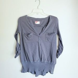 Anthro Red Triangle Button Back Tab Sleeve Top
